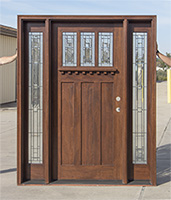 craftsman style door with venting sidelites