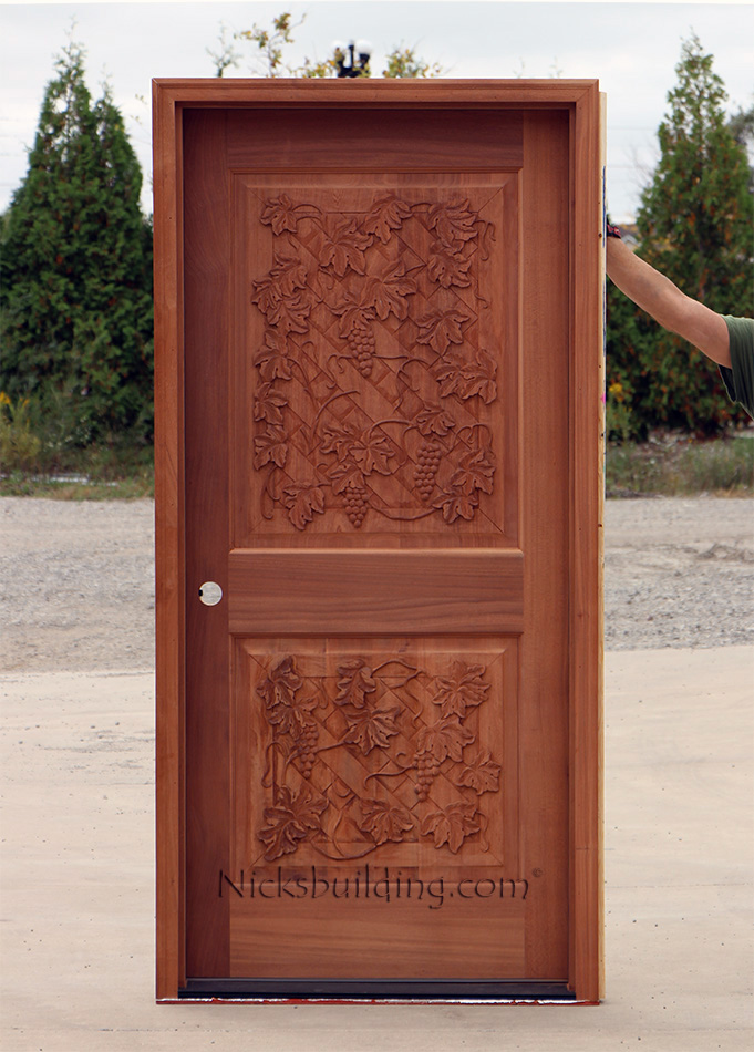 exterior carved door wine cellar