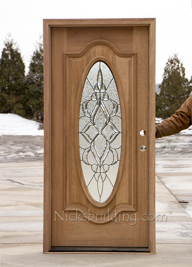 Oval glass exterior mahogany doors cl 106 for Single front entry doors