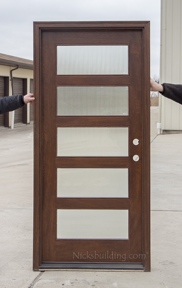 Modern single entry doors cl 2121a mahogany 5 lite entrance door with reed glass 3 0 x 6 8 left hand swing only 1599 pre finished plus freight shipping planetlyrics Gallery