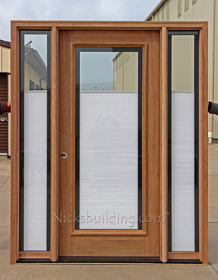 Entry Doors With Blinds Between Glass : Mahogany door with elliptical transom
