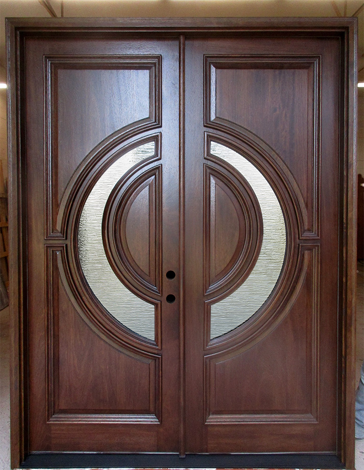 Mahogany Double Doors With River Water Glass