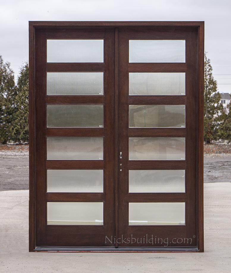 solid mahogany shaker exterior double doors