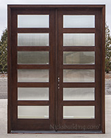 CL-2121 B  Modern Double Shaker Door Reeded glass