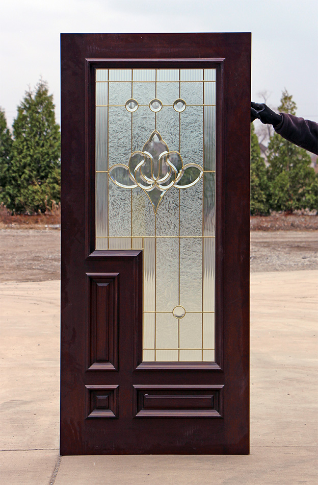 Red Mahogany Entry Door With Brass Caming