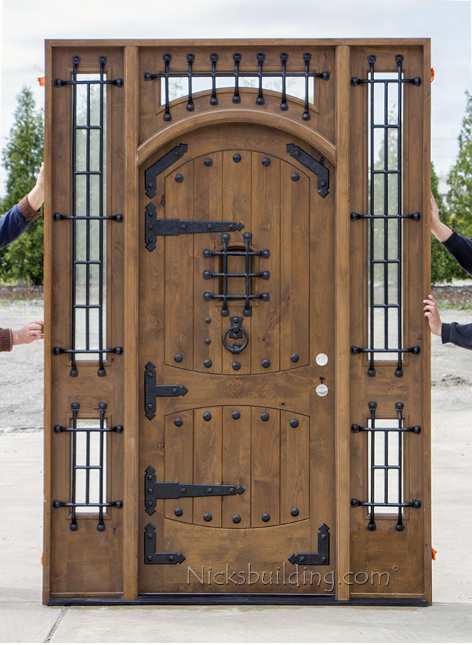 Rustic Castle Door with Sidelights and Transom & Rustic Castle Exterior Door