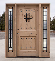 Rustic Wood Exterior Doors with Flemish Glass Sidelights Only  2495 mb CL 1981 Wholesale Clearance