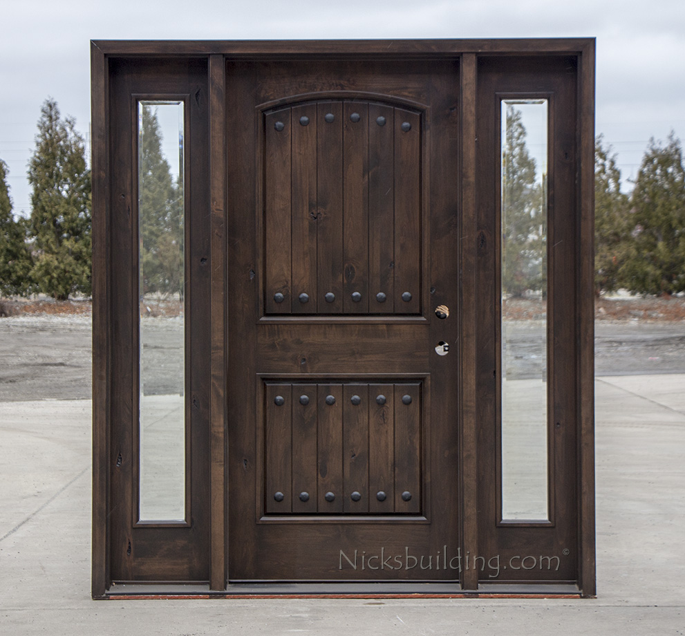 Rustic wood exterior doors cl 1778 for Hardwood front doors