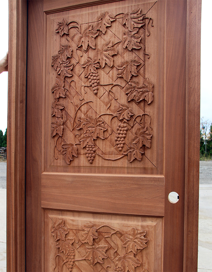 Wine Cellar Door Carved Mahogany Cl 68