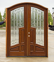 CL-119  African Mahogany Arched Exterior Double Doors