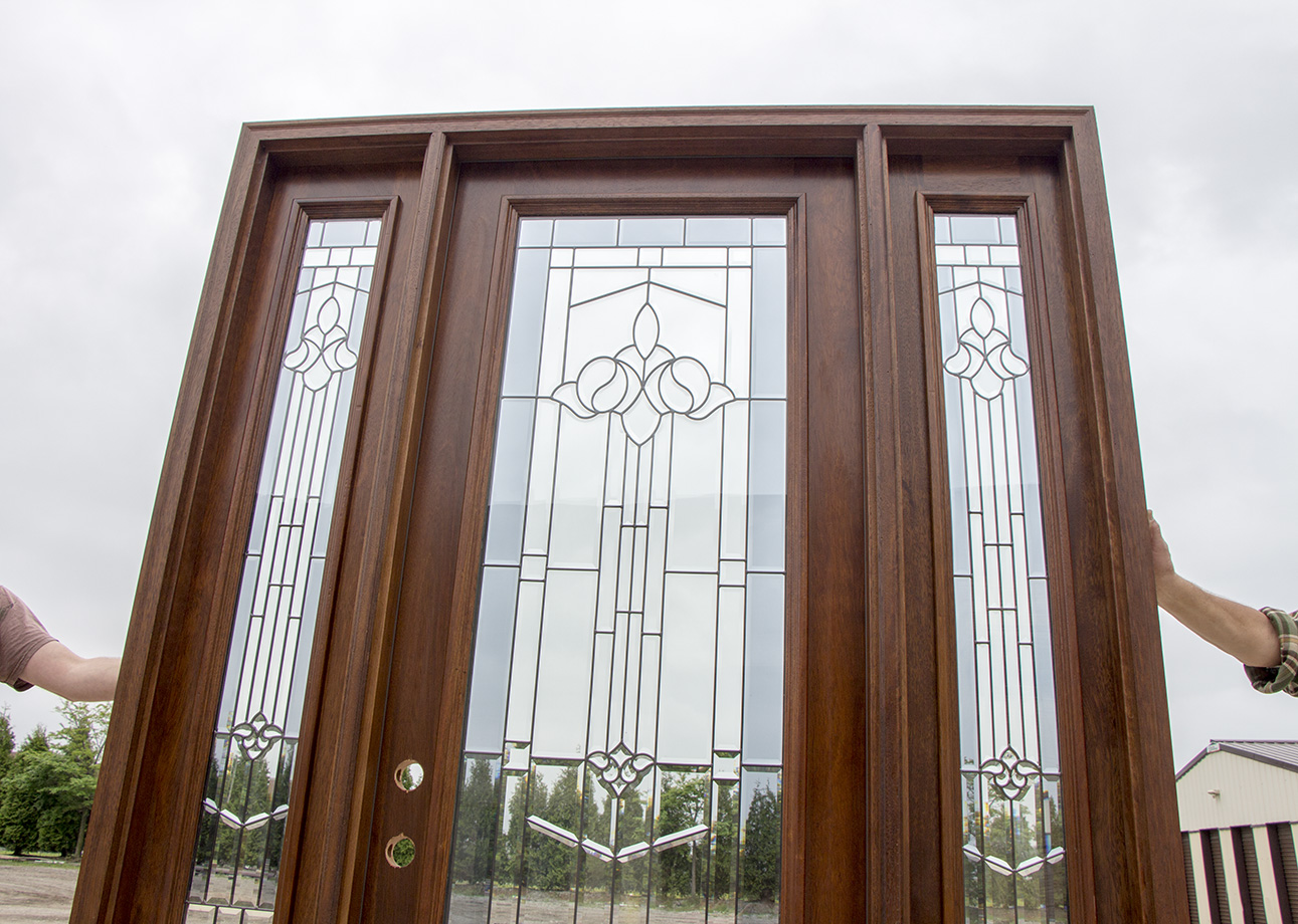 920 #412A1C Finished Exterior Doors With Sidelights 8'0 Solid Mahogany pic Clearance Entry Doors 44311291