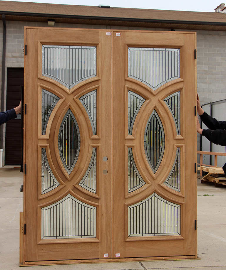 Mahogany double doors with modern glass for Cheap exterior doors