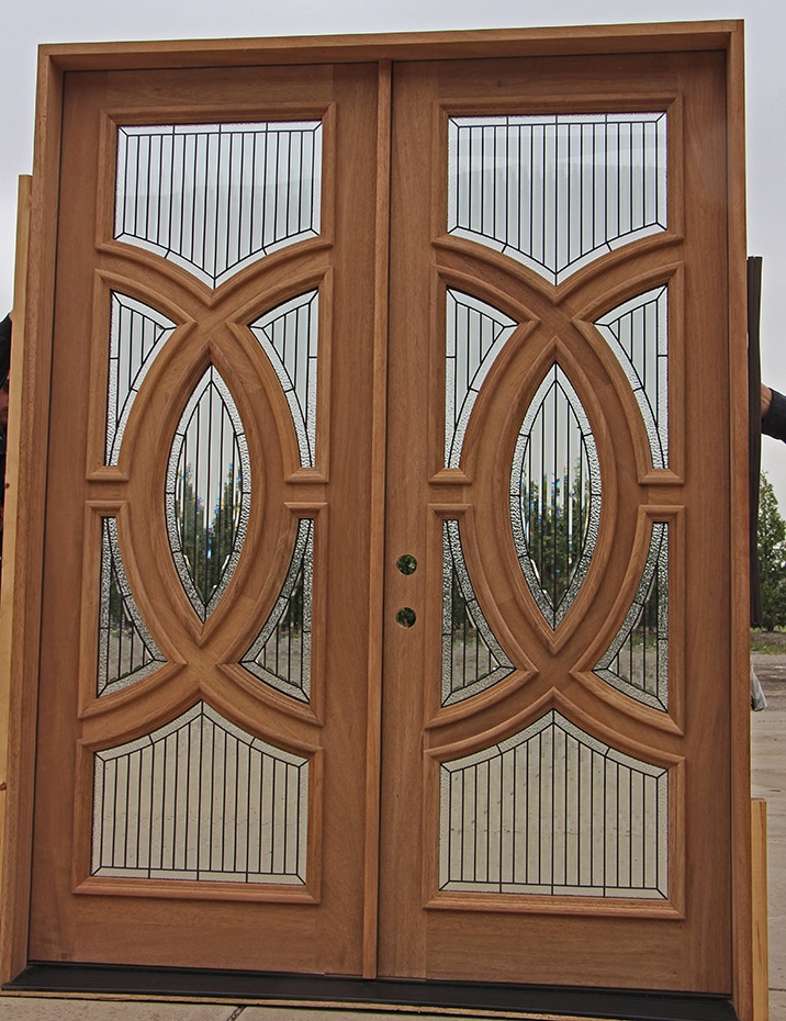 Mahogany Double Doors With Modern Glass