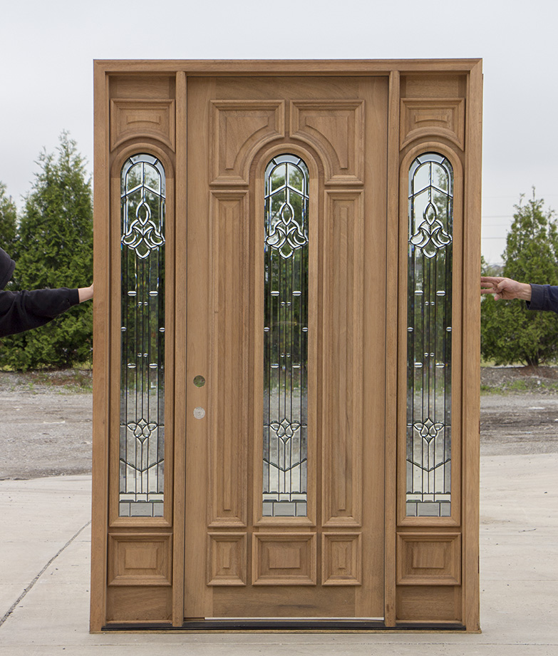 Exterior mahogany doors with arched glass for Solid wood door construction