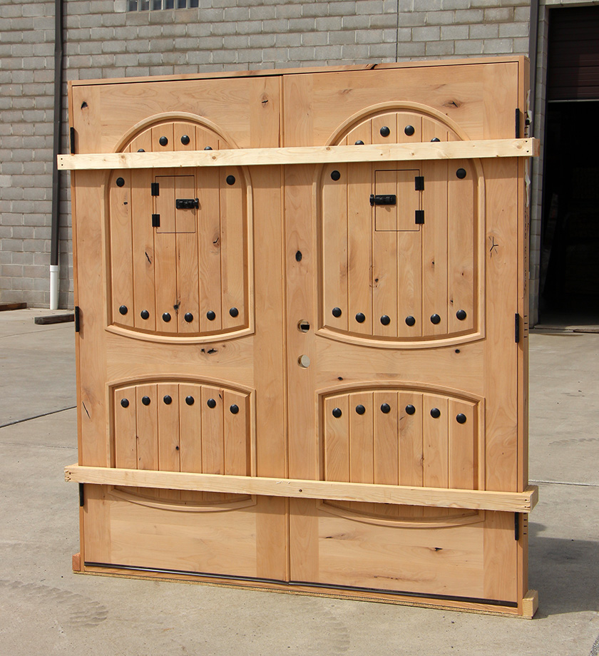 Exterior Knotty Alder Double Doors Arched Panels
