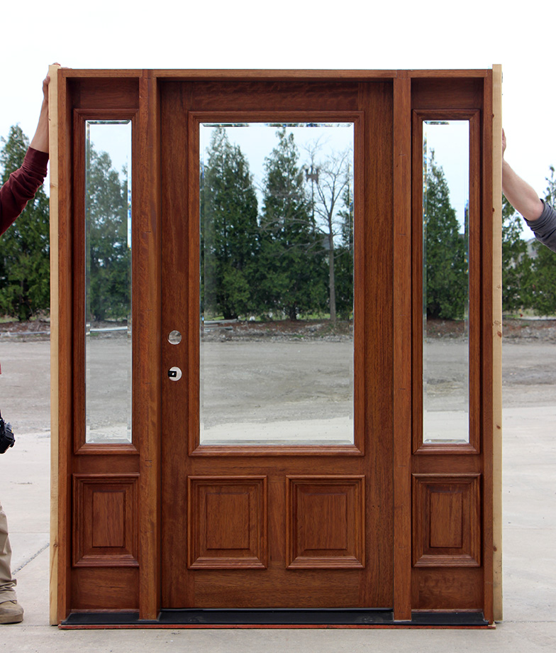 Clear Beveled Glass Solid Mahogany Doors