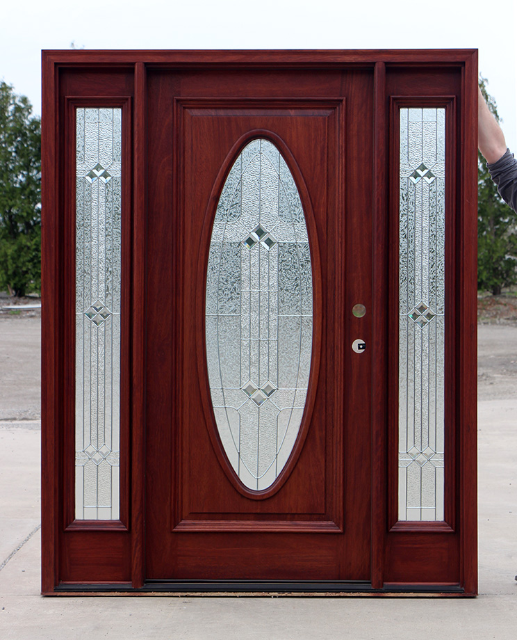 Oval Glass Solid Mahogany Exterior Doors Clearance