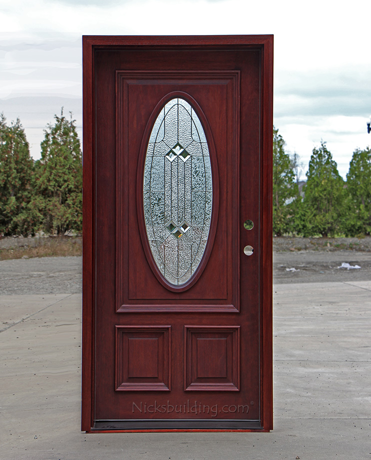 Oval glass entry doors mahogany for Exterior door with round window