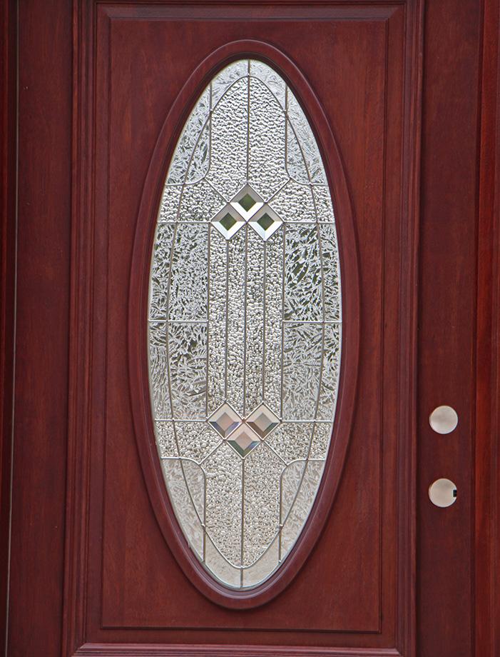 Oval Glass Entry Doors Mahogany