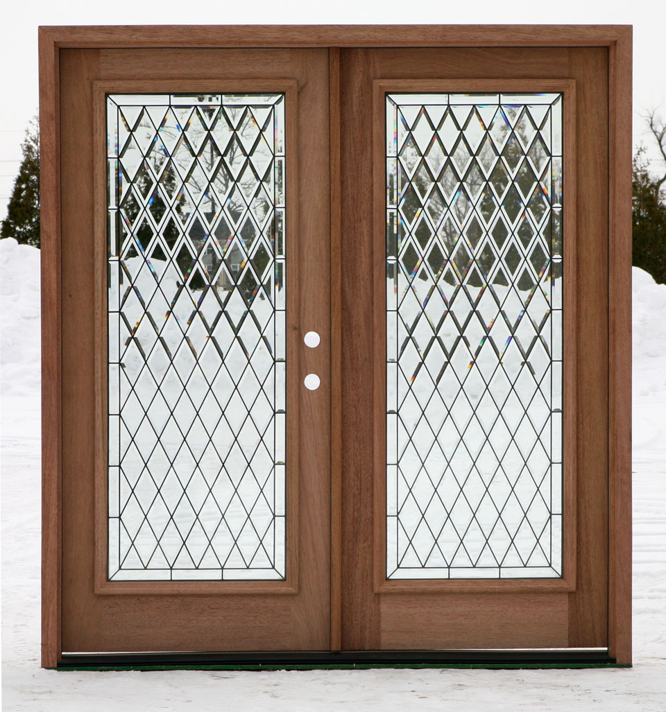 Double door walnut doors for Exterior double doors with glass