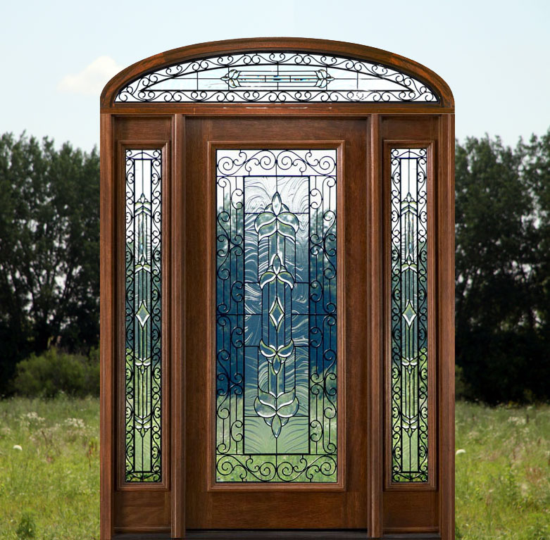 Wrought Iron Glass Doors Solid Mahogany Arch Transom