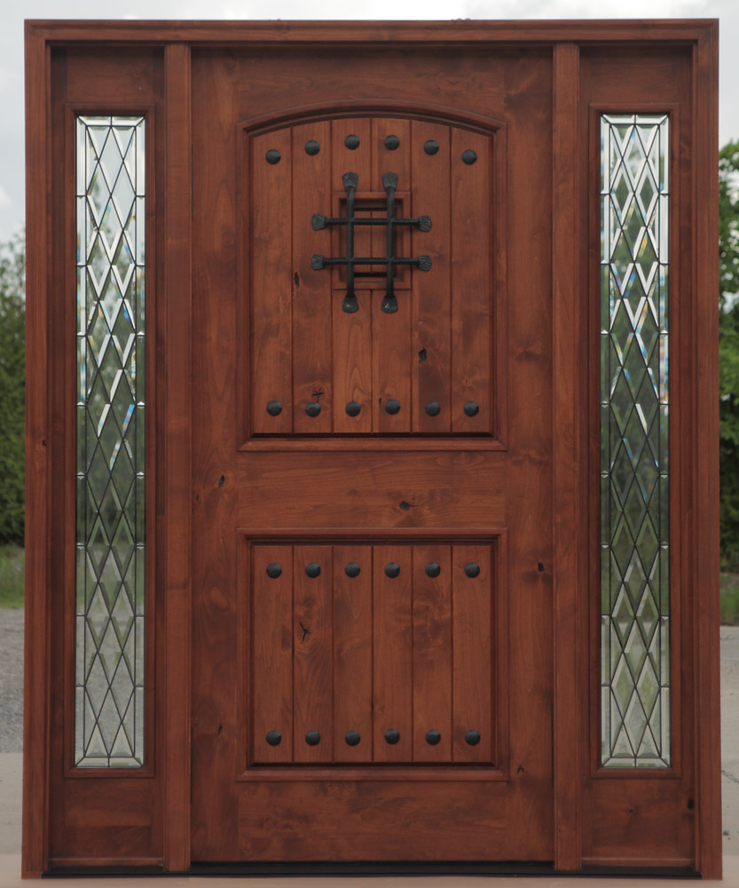 $2499 Builder Patina Glass PFC-KNOTTY ALDER DOORS WITH CHATEAU GLASS & Exterior Door with Sidelights - Pre-finished Pezcame.Com