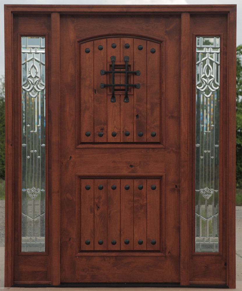 rustic knotty alder doors with sidelights pre finished model pfc