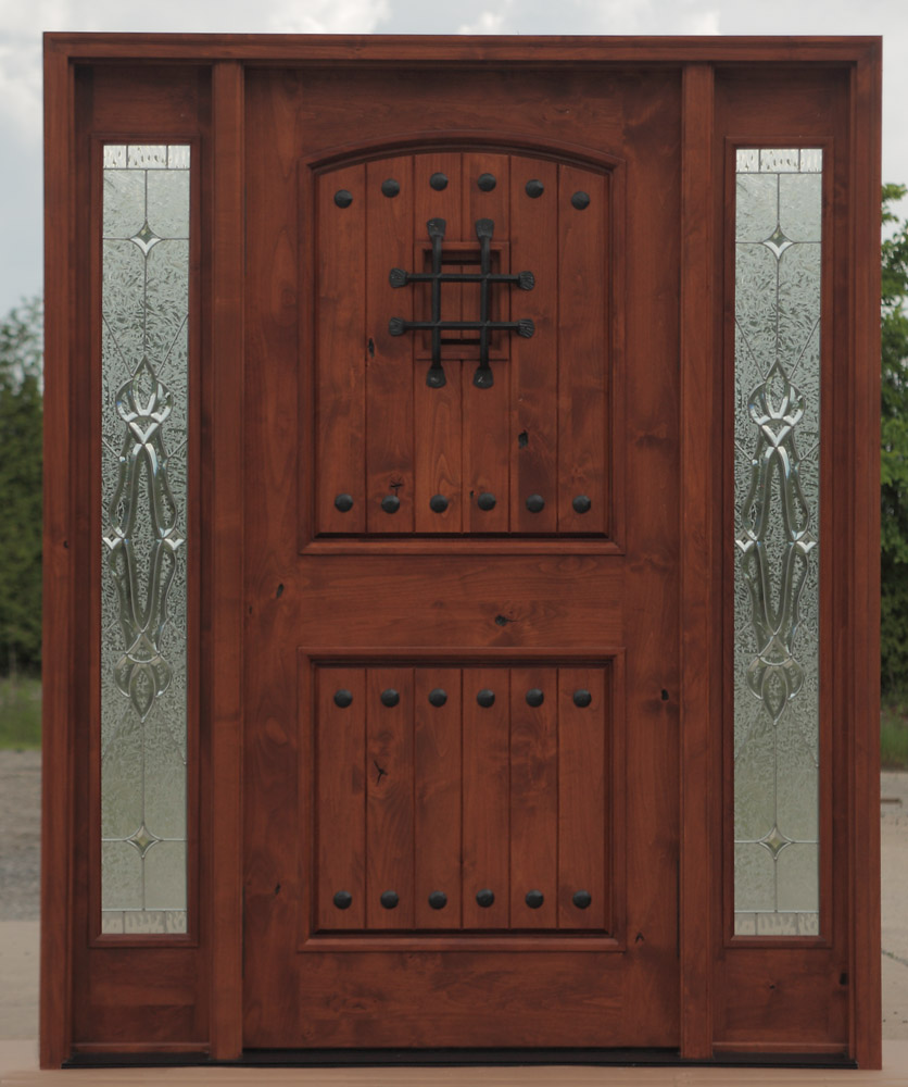 Knotty Alder Exterior doors with Sidelites in a Teak Finish