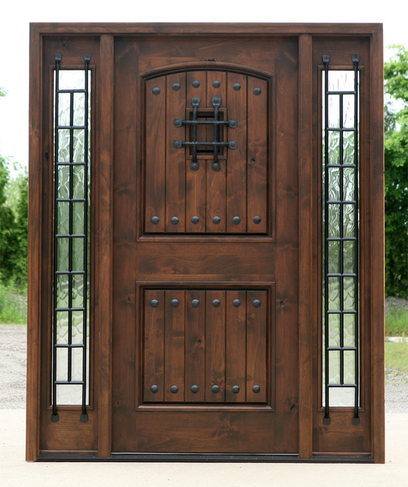 Exterior Entry Door In Walnut Finish With Flemish Gl