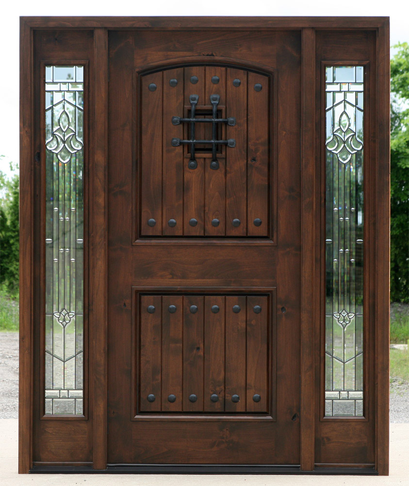 Exterior door with sidelights pre finished for Hardwood exterior doors