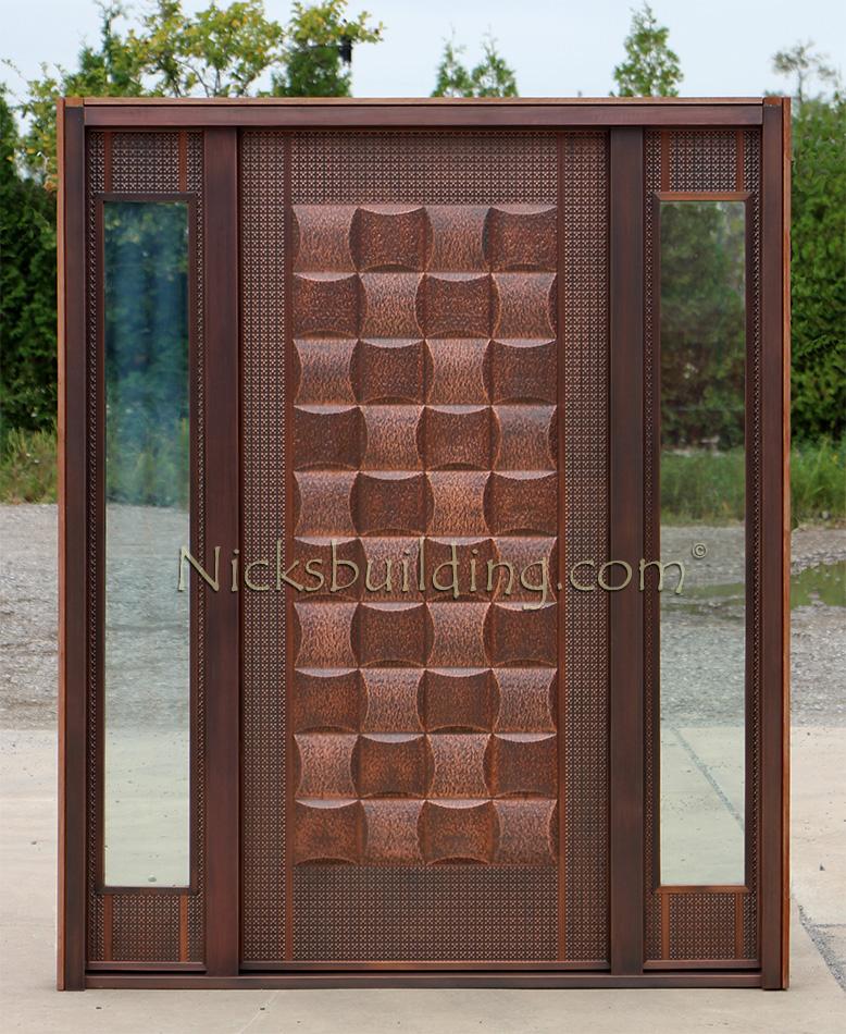 Copper door with sidelights lattice design for Photos of entry doors