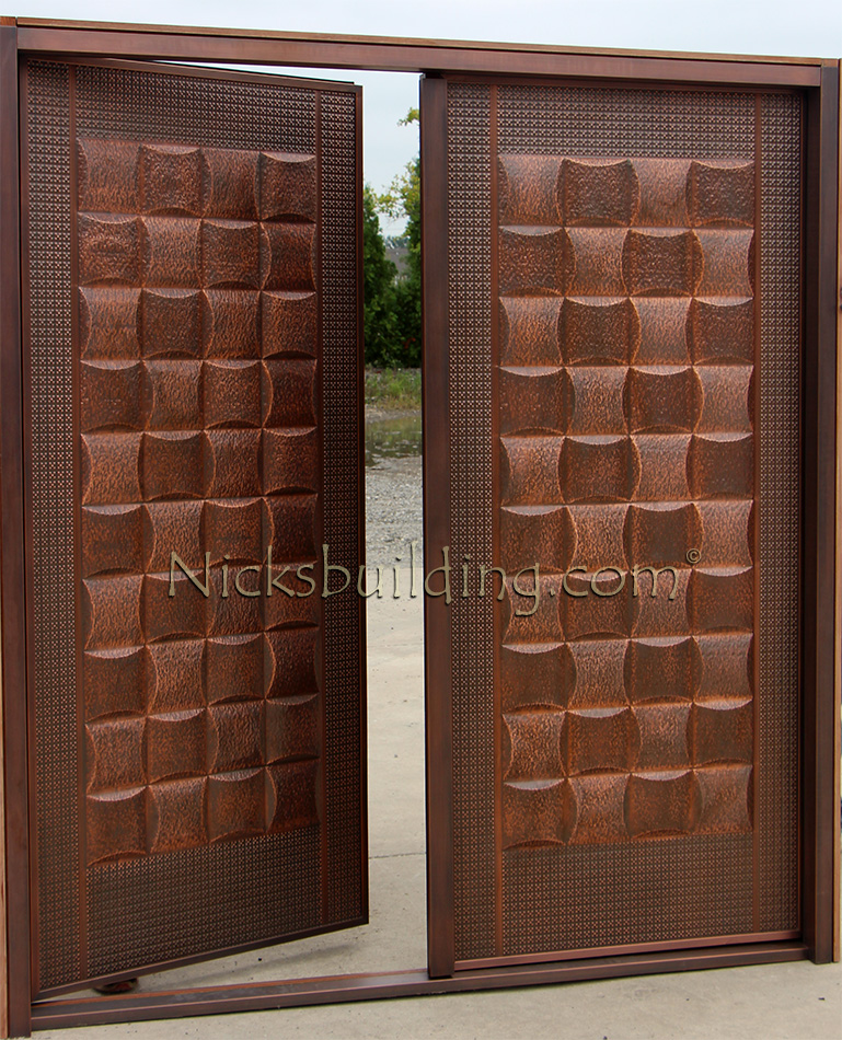 Copper Double Doors Lattice Design