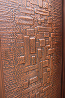 Copper door detailed closeup