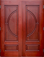 exterior copper double doors inside Mahogany