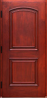 Copper exterior door has Mahogany wood interior