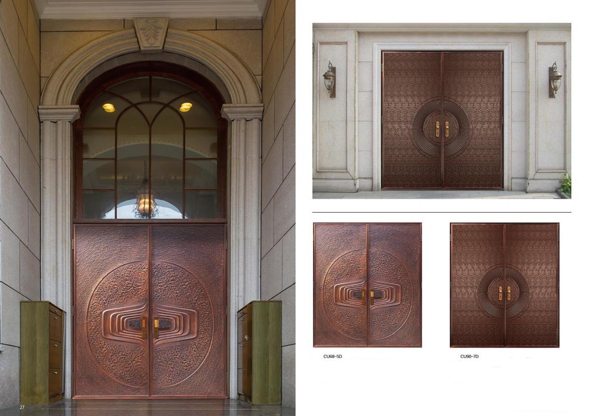 Custom Order Copper entry double doors & Copper Doors | Exterior Copper Doors