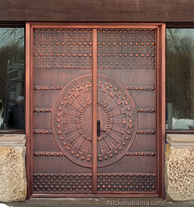 124 knotty alder exterior door with iron bars medieval doors in copper - Exterior Double Doors