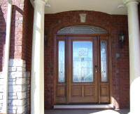 wood entry door with 2 sidelights and eliptical transom