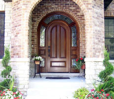 round top mahogany entry door