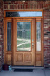 wood entry door with sidelights