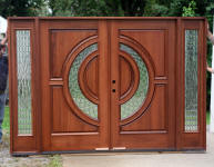 tiffany style wood entry door