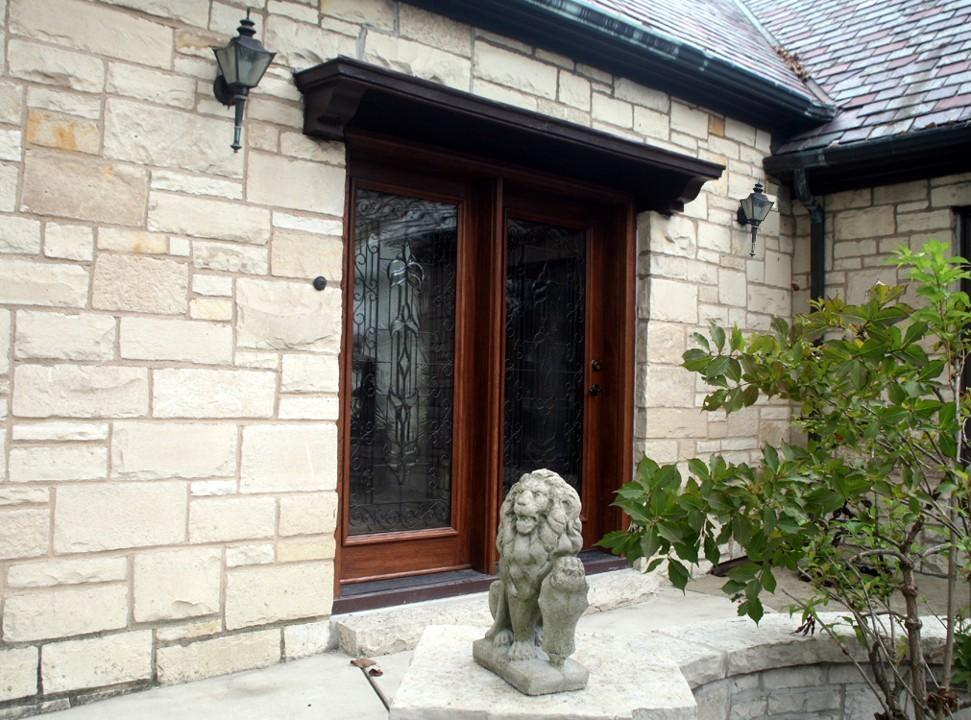 Wrought Iron Patio Doors : Mahogany patio doors with beveled glass and wrought iron