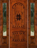 Rustic Door Sw-01 with Sw100 Sidelights and Clear Beveled glass