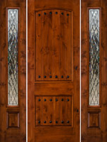 rustic door SW-62 with Gothic Style Glass SW-100 Sidelights