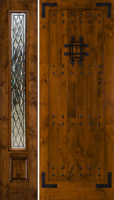 Model SW70 Rustic Door with Gothic Style Glass on SW100 sidelite