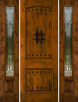 Most Popular Rustic Doors Model SW83 with SW100 Sidelights sporting Majestic Beveled Glass