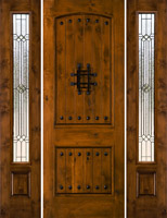rustic door model SW83 with SW100 Sidelights and Builder Glass Patina Came
