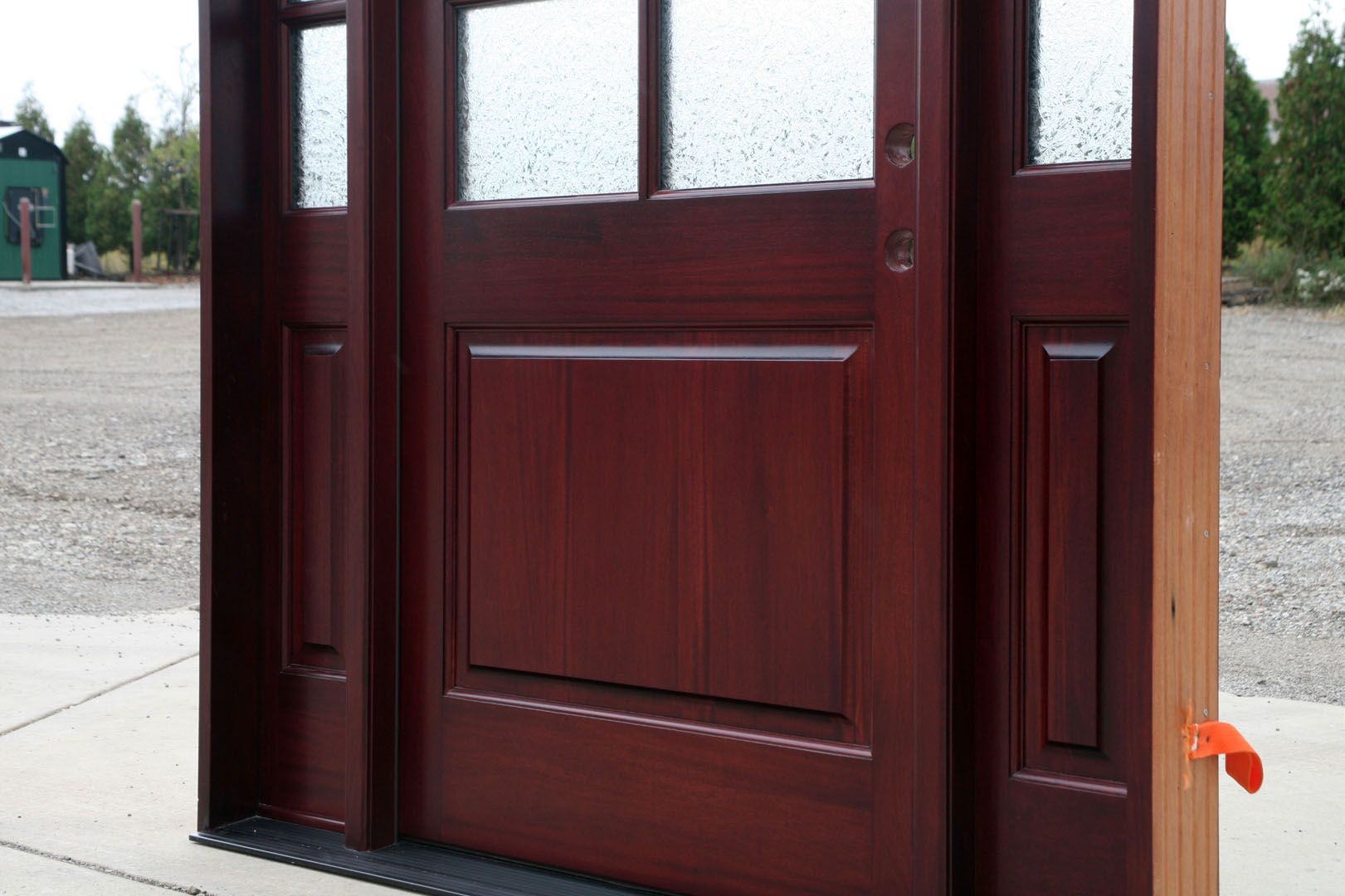 1080 #935638 Arch Top Entry Door With Arched Transom And Sidelites In Red Oak Color pic Arch Top Exterior Doors 38711621