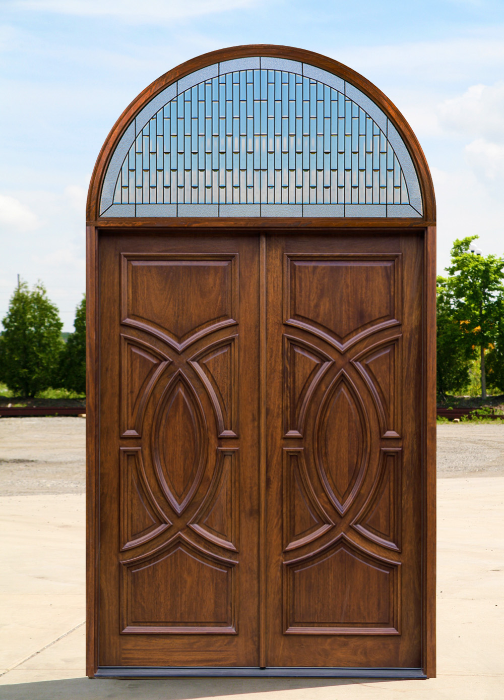 Exterior double doors with arched transom for Wooden front doors fitted