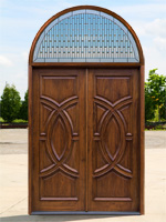 Exterior Double Doors with Arched transom